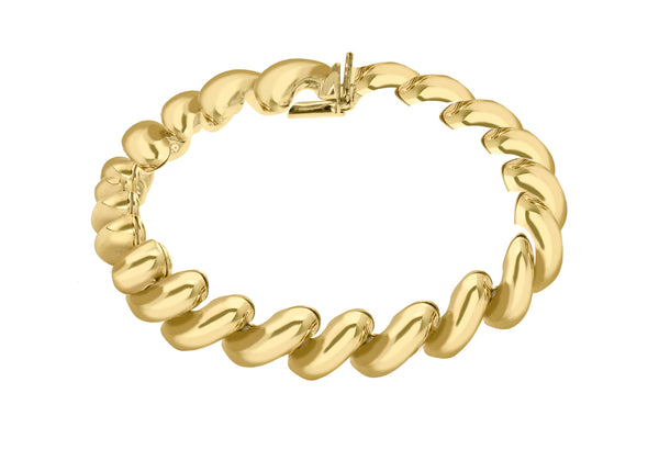 "Sterling Silver Yellow Gold Plated San Marco Bracelet 19m/7.5""9"