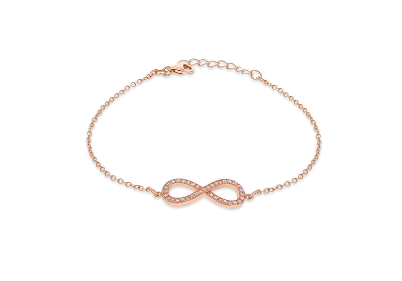 "Sterling Silver Rose Gold Plated Zirconia  Infinity Adjustable Bracelet 16.5m/6.5""-19m/7.5""9"