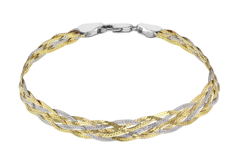 "Sterling Silver Rhodium and Yellow Gold Plated Herringbone Bracelet 19m/7.5""9"