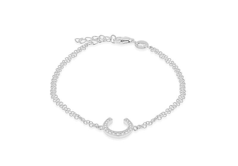 "Sterling Silver Rhodium Plated Zirconia  10.4mm x 10.8mm Horseshoe Double Chain Bracelet 17m/6.5""-19m/7.5""9"