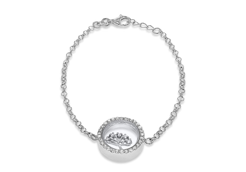 "Sterling Silver Rhodium Plated Zirconia  Floating 'Tree of Life' Adjustable Bracelet 17m/6.5"" - 18m/7""9"