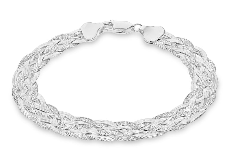 "Sterling Silver Patterned & Polished 6-Strand Plaited Herringbone Bracelet 19m/7.5""9"