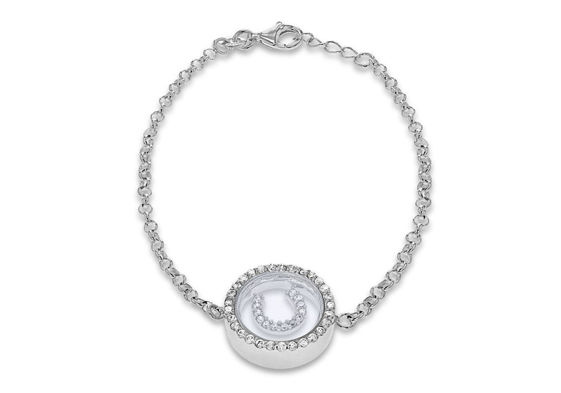 "Sterling Silver Rhodium Plated Zirconia  Floating Horseshoe Adjustable Bracelet 17m/6.5"" - 18m/7""9"