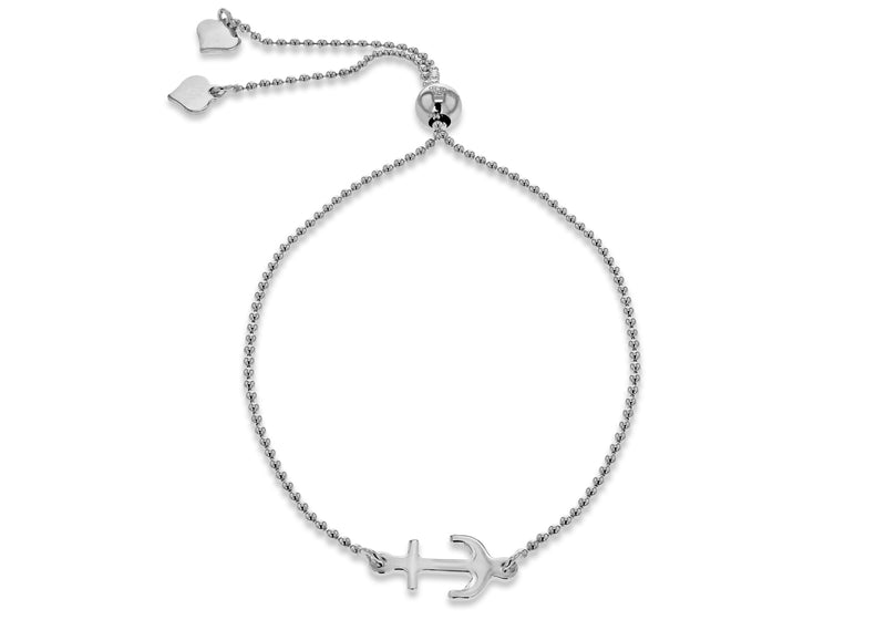 Sterling Silver Rhodium Plated Anchor Sliding Adjustable Bracelet