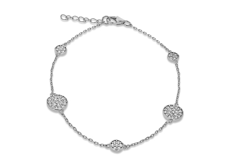 "Sterling Silver Rhodium Plated Five Zirconia  Disc Adjustable Bracelet 19m/7.5"" - 21.5m/8.5""9"