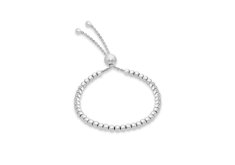 "Sterling Silver Rhodium Plated Ball & Chain Adjustable Bracelet 5m/2""-21.5m/8.5""9"