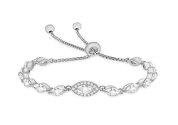 Sterling Silver Rhodium Plated Marquise Zirconia  Adjustable Box Chain Slider Bracelet