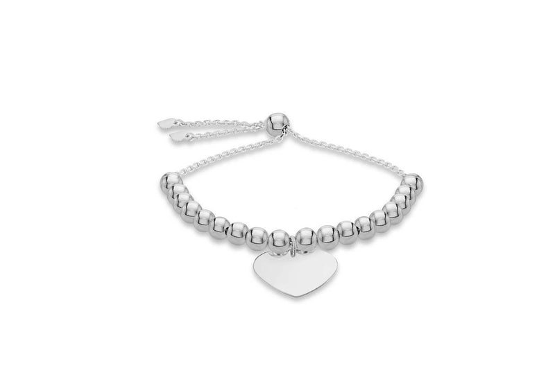 Sterling Silver Beaded Heart Adjustable Slider Bracelet