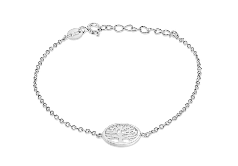 "Sterling Silver Rhodium Plated 11mm 'Tree of Life' Adjustable Bracelet 16m/6.25""-18.5m/7.25""9"