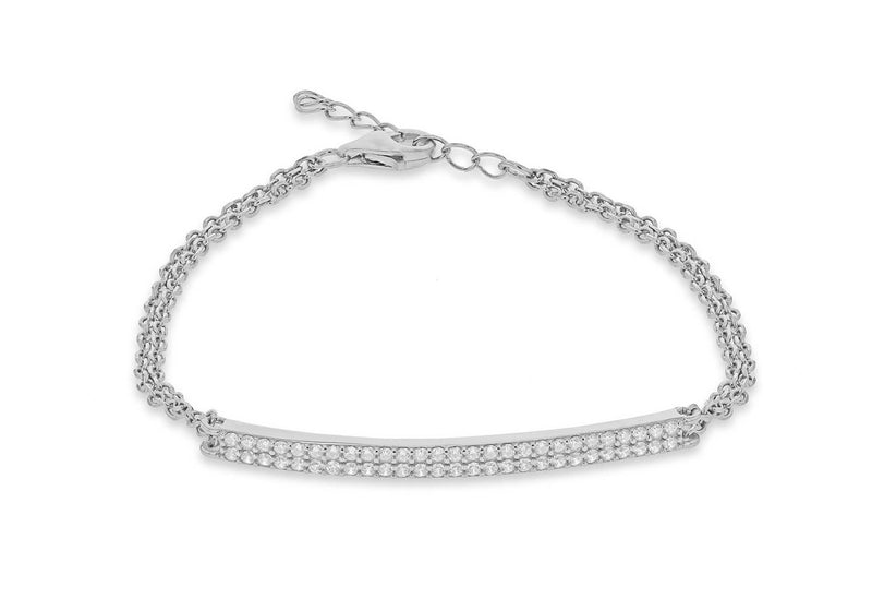 "Sterling Silver Rhodium Plated Zirconia  Bar and Double Chain Adjustable Bracelet 16.5m/6.5""-19m/7.5""9"
