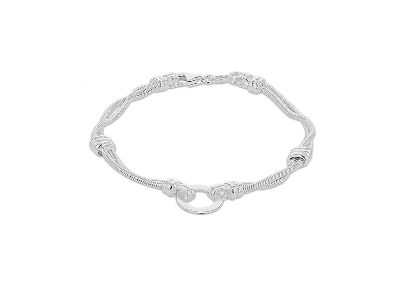 "Sterling Silver 11mm Disc Double-Snake Chain Bracelet 19m/7.5""9"