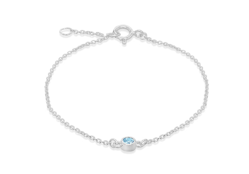 Sterling Silver Aqua Zirconia March Birthstone Adjustable Bracelet