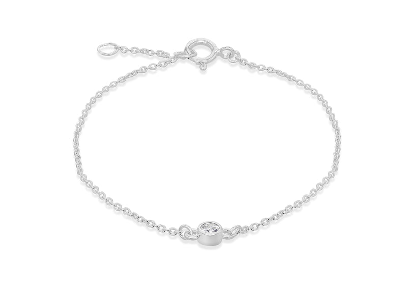 Sterling Silver White Zirconia  Set 'April' Birthstone Adjustable Bracelet