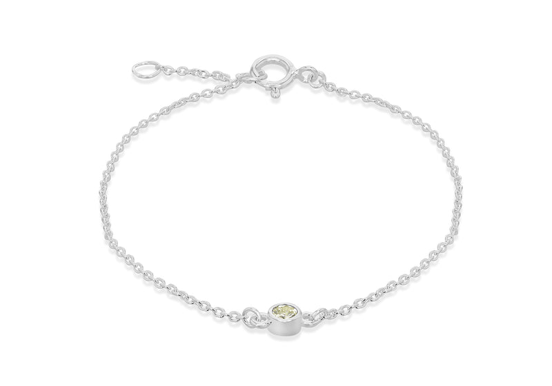 "Sterling Silver Light Green 3mm Zirconia  August Birthstone Adjustable Bracelet 16m/6.25""-18m/7""9"