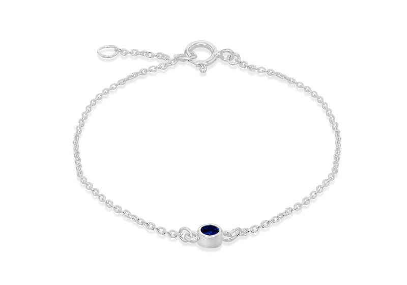 "Sterling Silver Blue 3mm Zirconia  September Birthstone Adjustable Bracelet 16m/6.25""-18m/7""9"