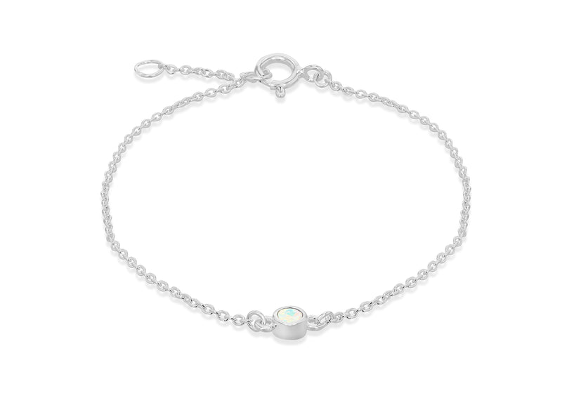 Sterling Silver White Cabochon Synthetic Opal October Birthstone Adjustable Bracelet