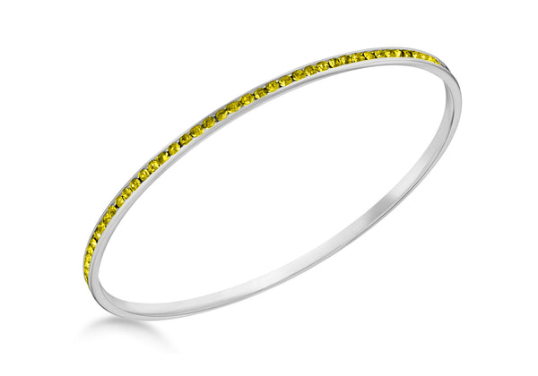 Sterling Silver Yellow Crystal Bangle