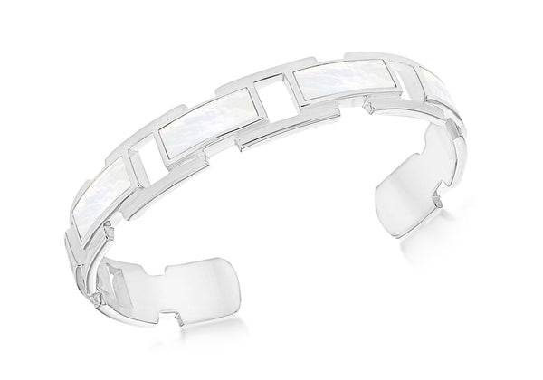 Sterling Silver White Mother of Pearl 12.5mm Bangle
