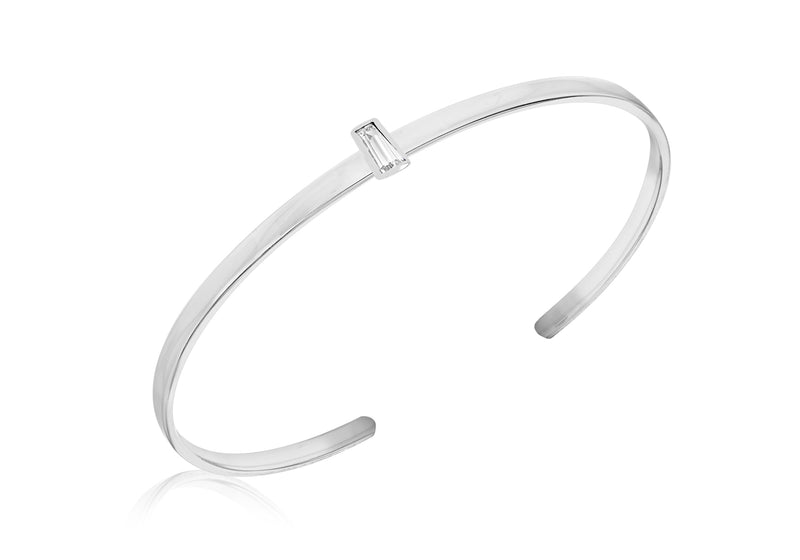 Sterling Silver White Tapered Baguette Cut Zirconia  uff Bangle