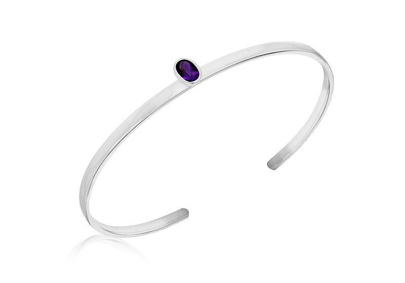 Sterling Silver Amethyst Oval Zirconia  Torque Bangle