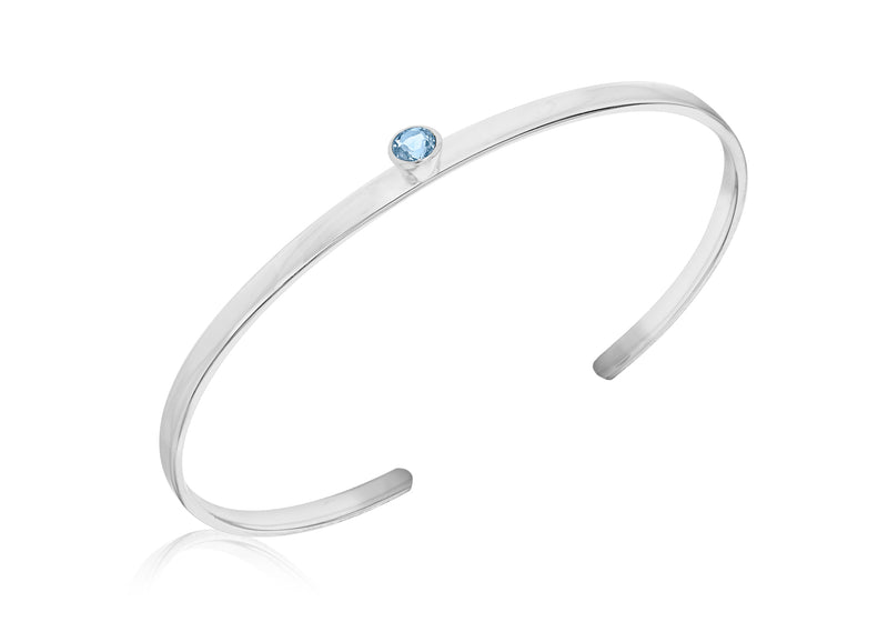 Sterling Silver Round Blue Zirconia  Torque Bangle