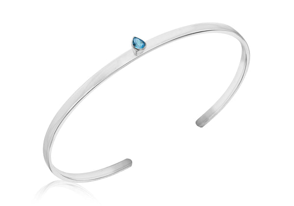 Sterling Silver Pear Shaped Blue Topaz Torque Bangle