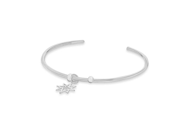 Sterling Silver Zirconia  Hanging CutoCut-Star Bangle