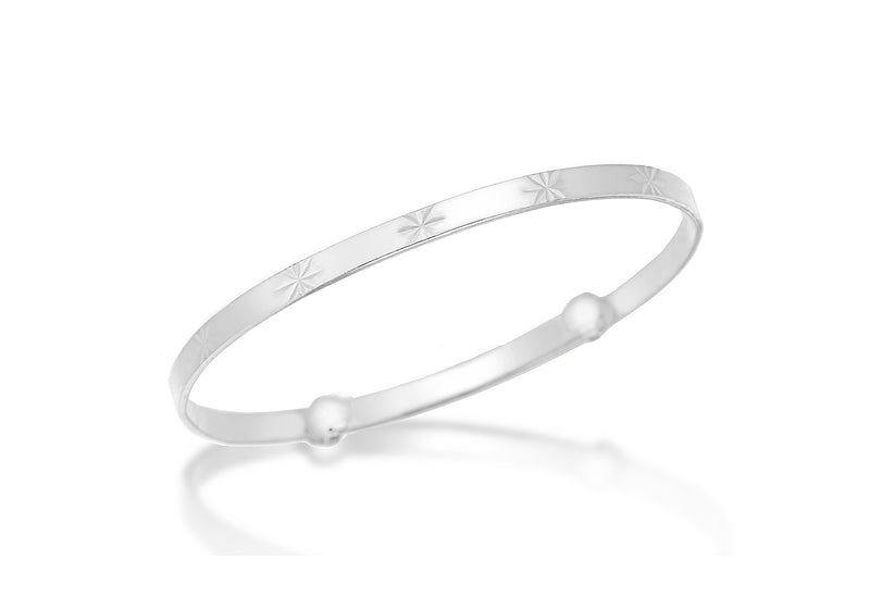 Sterling Silver Diamond Cut Stars Child's Bangle