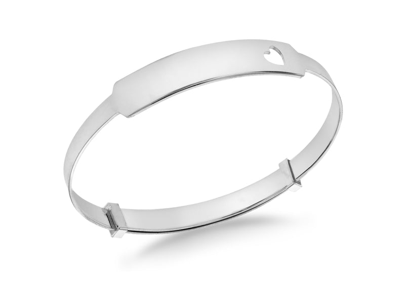 Sterling Silver Heart ID Extendable Baby Bangle