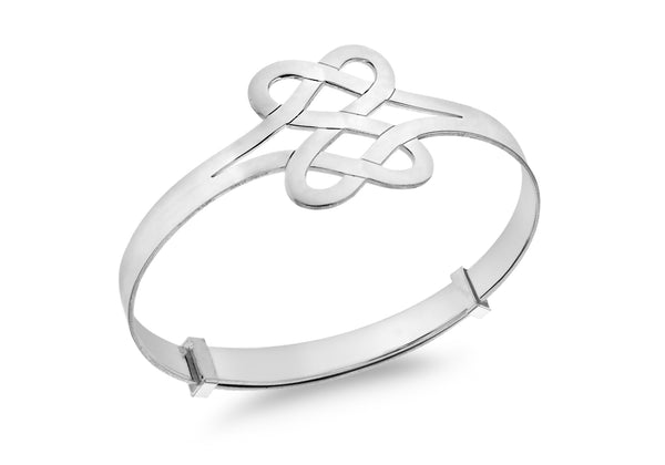 Sterling Silver Double-Heart Celtic-Knot Extendable Baby Bangle