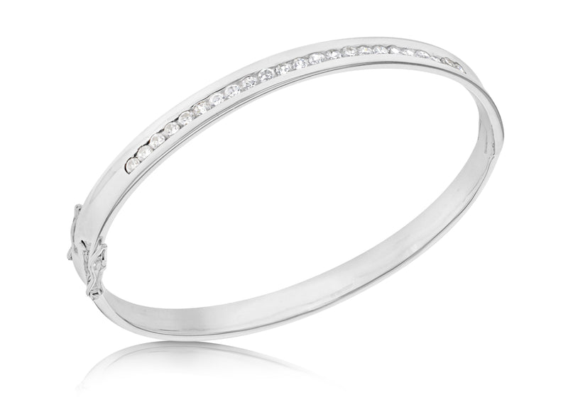 Sterling Silver Zirconia  urve Bangle