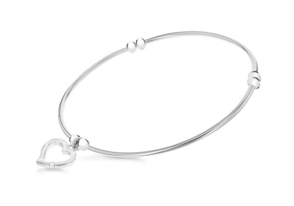 Sterling Silver Zirconia  Heart Bangle