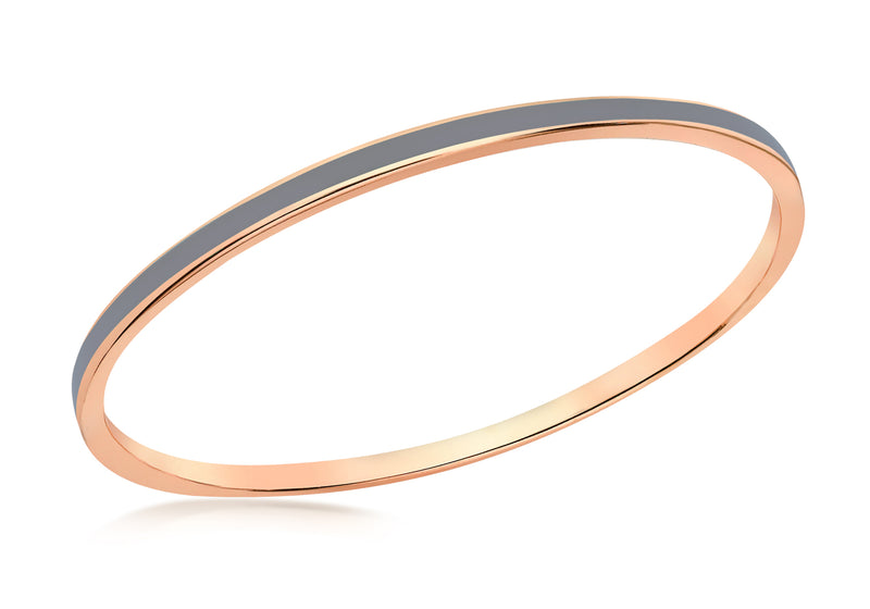 Sterling Silver Rose Gold Plated 3mm Grey Stacking Bangle