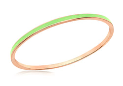 Sterling Silver Rose Gold Plated 3mm Green Stacking Bangle