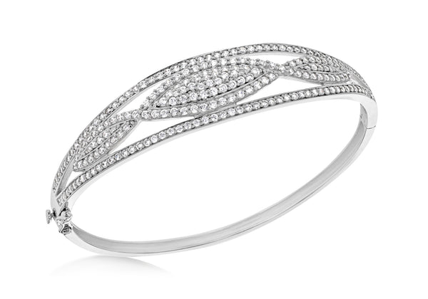 Sterling Silver Zirconia  Graduated Elliptic Bangle