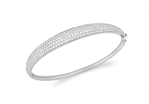 Sterling Silver Rhodium Plated Zirconia  Pave Set Bangle