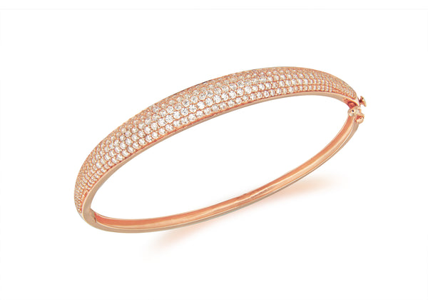 Sterling Silver Rose Gold Plated Zirconia  Pave Set Bangle