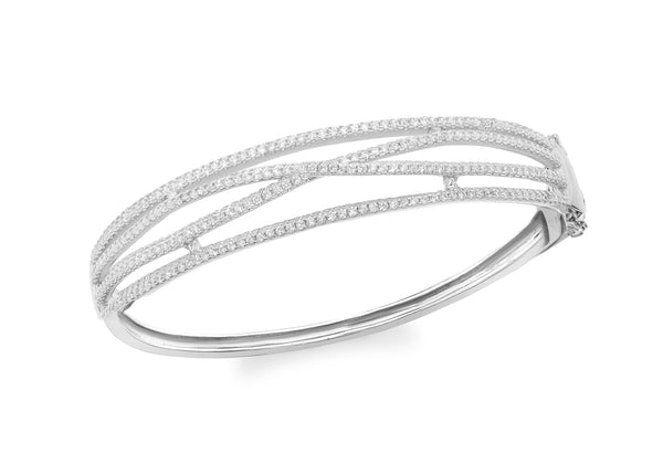 Sterling Silver Rhodium Plated Zirconia  Crossover Bangle