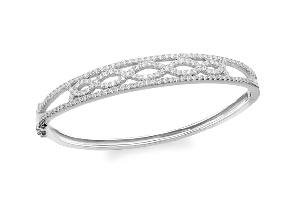 Sterling Silver Rhodium Plated Zirconia  Elliptic Wave Bangle