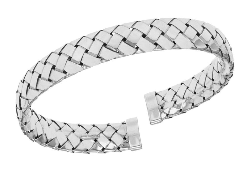 Sterling Silver Rhodium Plated Thin Woven Bangle