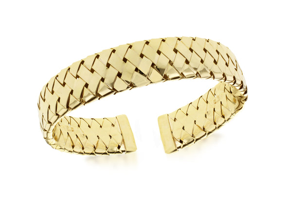 Sterling Silver Yellow Gold Plated Wide Woven Bangle