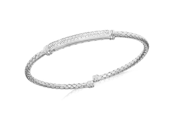 Sterling Silver Rhodium Plated Double Row Zirconia  Bar Bangle