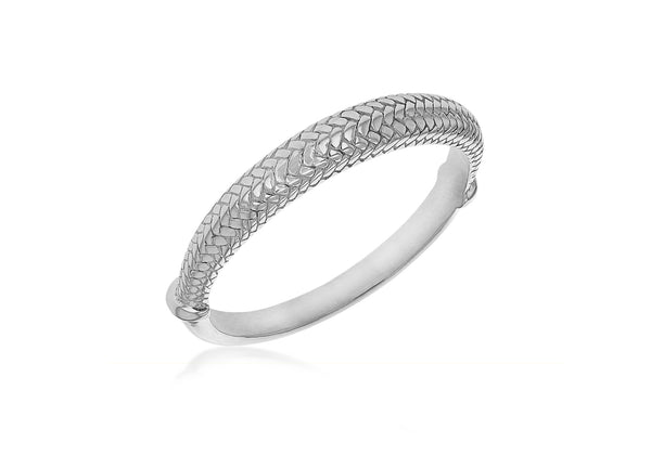 Sterling Silver Half Woven Pattern Bangle