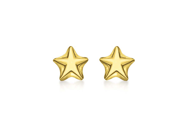 Sterling Silver Yellow Gold Plated Star Stud Earrings
