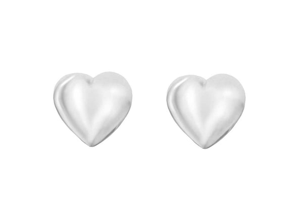 Sterling Silver 5mm x 4.5mm Heart Stud Child's Earrings