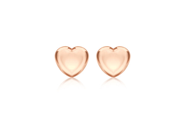 Sterling Silver Rose Gold Plated 5mm x 4.5mm Heart Stud Child's Earrings