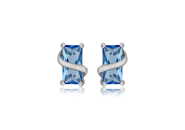 Sterling Silver Square Blue Topaz Crossover Stud Earrings