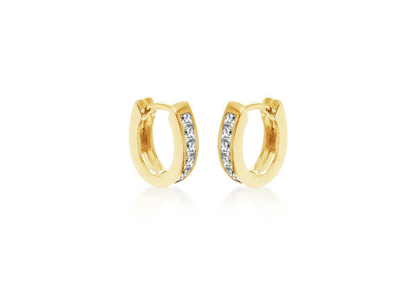 Sterling Silver Yellow Gold Plated Zirconia  Set Lever Bak Hoop Earrings