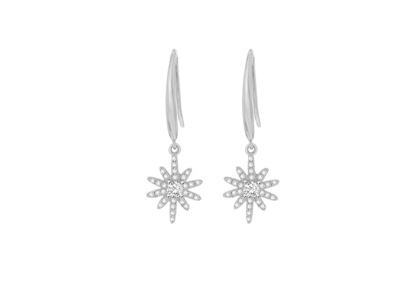 Sterling Silver Rhodium Plated Zirconia  Stone Set Star Drop Earrings