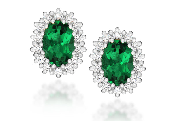 Sterling Silver White Zirconia  and Green Crystal Cluster Oval Stud Earrings